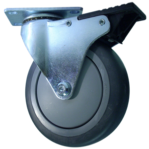 SWL 5 x 1-1/4 GR RUBB PLT BB TLB BLK  - Swivel Plate / Brake ( Total Lock ) - CASTERS