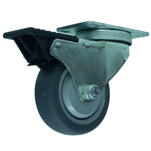 SWL 3-1/2x1-1/4 GR RUBB PLT BB TLB BLK  - Thermoplastic Rubber / Polyolefin - CASTERS
