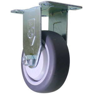 RIG 3-1/2'' x 1-1/4'' GR RUBBER PLT BB  - Rigid Top Plate ( R ) - CASTERS
