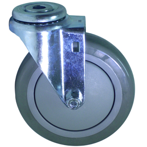 SWL 5 x 1-1/4 URE/POLYO BB 1/2 BH  - Swivel 1/2 Bolt Hollow Hole ( H ) - CASTERS