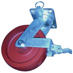 PIV 10x3 DUCT ARR PLQ TBRG 4PSL TSBRK  - Plaque Pivotante / Frein Vis Moletée + 4PSL - ROULETTES