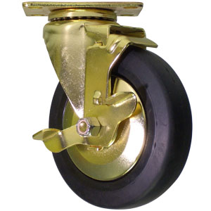 SWL GOLD 5x1.25 BLK RUBB PLT BB RL BRAKE  - Swivel Plate / Brake ( Side Brake ) - CASTERS