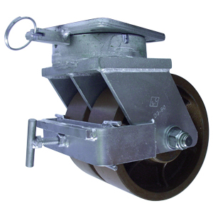 SWL TWN 8x4 DUCST PLT TPBRG 4PSL F BRK  - Industrial Casters (HD 2000+ lbs) - CASTERS