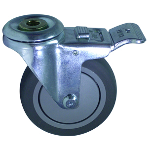 SWL 4 x 1-1/4 GREY RUBB. BB 1/2 BH TLB  - Swivel 1/2 Bolt Hollow Hole / Brake ( Total Lock ) - CASTERS