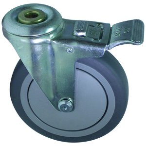 SWL 5x1.25 GR/RUB BB 1/2 BH TLB  - Swivel 1/2 Bolt Hollow Hole / Brake ( Total Lock ) - CASTERS