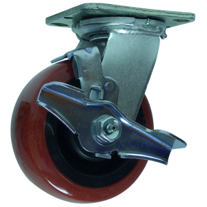 SWL 5x2 URE/POLYO RED/BLK RB PLT BK  - Swivel Plate / Brake ( Top Lock ) - CASTERS