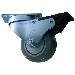 SWL 3x1-1/4 URE/POLYO BB PLT TLB BLK  - Swivel Plate / Brake ( Total Lock ) - CASTERS