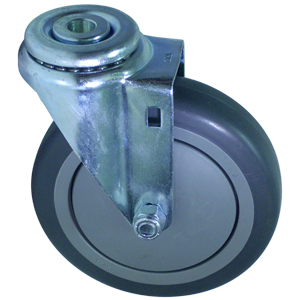 SWL 5 x 1-1/4 GREY RUBB. BB 1/2 BH  - Swivel 1/2 Bolt Hollow Hole ( H ) - CASTERS