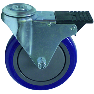 SWL 5 x 1-1/4 BLUE URE/POLYO BB 1/2 BH TLB  - Swivel 1/2 Bolt Hollow Hole / Brake ( Total Lock ) - CASTERS