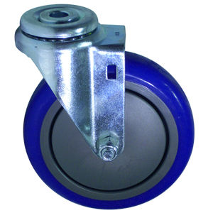 SWL 5 x 1-1/4 BLUE URE/POLYO BB 1/2 BH  - Swivel 1/2 Bolt Hollow Hole ( H ) - CASTERS