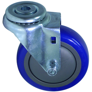 SWL 4 x 1-1/4 BLUE URE/POLYO BB 1/2 BH  - Swivel 1/2 Bolt Hollow Hole ( H ) - CASTERS
