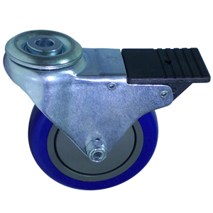 SWL 4 x 1-1/4 BLUE URE/POLYO BB 1/2 BH TLB  - Swivel 1/2 Bolt Hollow Hole / Brake ( Total Lock ) - CASTERS