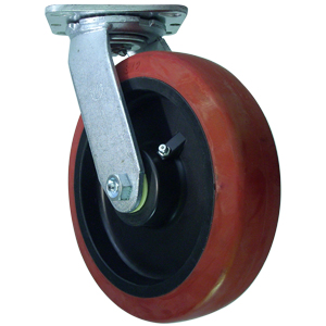 SWL 8x2 URE/POLYO RB RED/BLK  - 800 - 899 Lbs            ( 363 - 408 kg ) - CASTERS