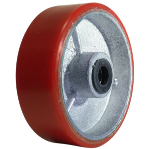 WHEEL 6x2 URE/CAST RED/SIL 3/4 RB  - 6 in.             ( 152 mm ) - WHEELS