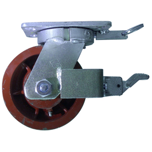 SWL 6x3 FLAT DUCT PLT TBRG FBRK 4PSL  - Swivel Plate / Brake ( Face Contact + 4PSL) - CASTERS