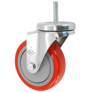 SWL 3x1-1/4 URE/POLYO RD/BLK THRD 3/8x1-1/2  - Red / Grey - CASTERS