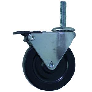 SWL 3x13/16 BLK RUBB STEM THRD 3/8x1-1/2 TH-BRK  - Threaded Stem 3/8 (16)  ( Tech Brake ) - CASTERS
