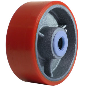 WHL 5x2 URE/CAST RED/SIL 3/4 RB  - Urethane / Cast Iron - WHEELS