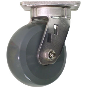 SWL 5x2 STNLSS SOL URE/GLNY GR/BLK PLT PBB  - HD Solid Urethane - CASTERS
