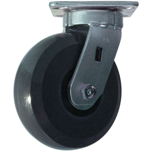SWL 6x2 SOL URE GR/BLK PLT PBB  - Solid Urethane - CASTERS