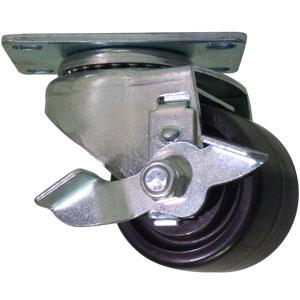 SWL 2-1/2x1-3/4 POLYO PLT PB BRK  - Swivel Plate / Brake ( Side Brake ) - CASTERS