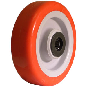 WHL 5x1-1/2 URE/POLY RED/GR 3/4 RB  - 600 - 699 Lbs            ( 273 - 317 kg ) - WHEELS