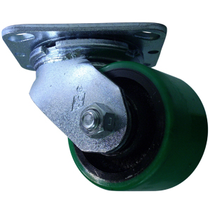 SWL 3-1/4x2 GRN URE/CAST PLT RB  - Green / Black - CASTERS