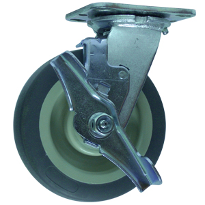 SWL 6x2 GREY RUBB/POLYO FLAT PLT PBB BRK  - Grey / Beige ( Flat ) - CASTERS