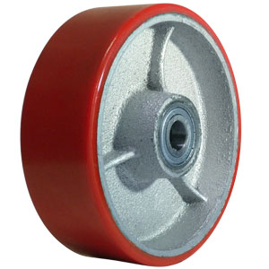 WHL 6x2 URE/CAST RED/SIL 1/2 PBB  - Urethane / Cast Iron - WHEELS