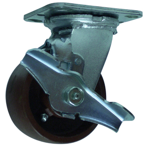 SWL 4x2 CRWN DUCTILE PLT RB BRK  - Swivel Plate / Brake ( Top Lock ) - CASTERS