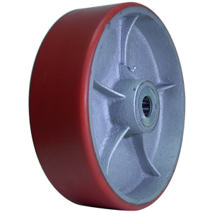 WHL 10 x 3 URE/CAST RED/SIL 1 RB  - Urethane / Cast Iron - WHEELS