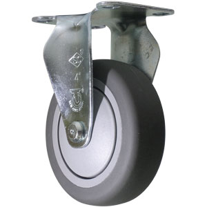 FIX 4 x 1 1/4 GREY RUBB BB PLT  - CASTERS