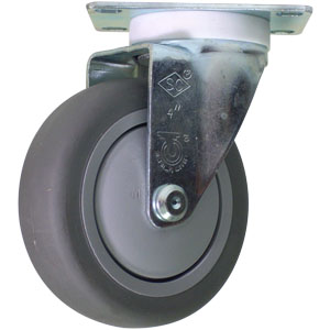 SWL 4 x 1 1/4 GREY RUBB BB PLT  - Thermoplastic Rubber / Polyolefin - CASTERS