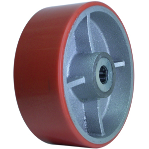 WHEEL 8x3 URE/CAST RED/SIL 1 RB  - 1 in. Roller Bearing - WHEELS