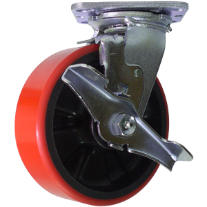 SWL 6x2 URE/GLNYL RED/BLK PLT RB BRK  - Red / Black - CASTERS