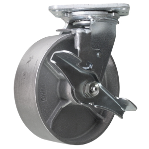 SWL 6x2 STEEL PLT RB BRK  - Swivel Plate / Brake ( Top Lock ) - CASTERS