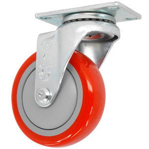 SWL 4x1-1/4 URE RED/POLYO PLT BB  - Red / Grey - CASTERS