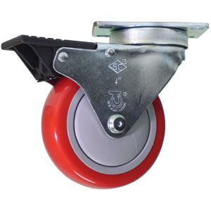 SWL 4x1-1/4 URE RED/POLYO PLT BB BRK  - Red / Grey - CASTERS