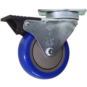 SWL 4x1-1/4 BLUE URE/POLYO PLT BB TLB BLK  - CASTERS