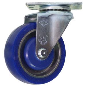SWL 4x1-1/4 RUB/ALUM PLT BB  - Blue - CASTERS