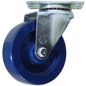 SWL 4x1-1/4 SOLID BLUE URE PLT PB  - CASTERS