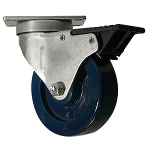 SWL 4x1-1/4 SOLID BLUE URE PLT PB TLB  - Solid Urethane - CASTERS