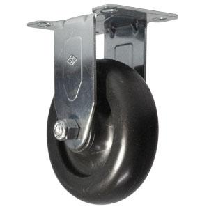 RIG INOX 4x1-1/4 POLYO NOIR PLQ  - 4 po            ( 102 mm ) - ROULETTES