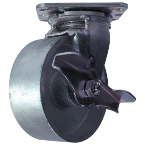 SWL 5x2 STEEL PLT RB BRK  - Swivel Plate / Brake ( Top Lock ) - CASTERS