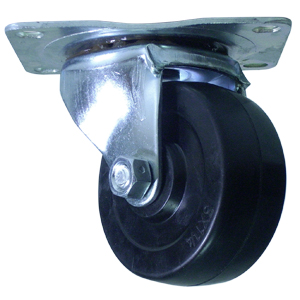SWL 3x1-1/4 SOFT RUBBER BLACK PLT PB  - Soft Black Rubber - CASTERS