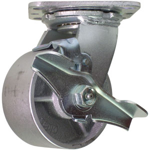SWL 4x2 CAST PLT RB BRK  - Swivel Plate / Brake ( Side Brake ) - CASTERS