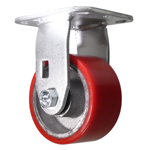 RGD 4x2 URE/CAST RED/SIL PLT RB  - Urethane / Cast Iron - CASTERS