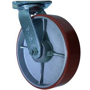 SWL 8x2 URE/CAST RED/SIL PLT RB  - Urethane / Cast Iron - CASTERS