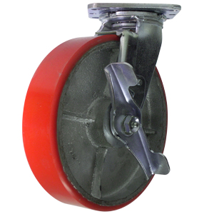 SWL 8x2 URE/CAST RED/SIL RB BRK  - Urethane / Cast Iron - CASTERS
