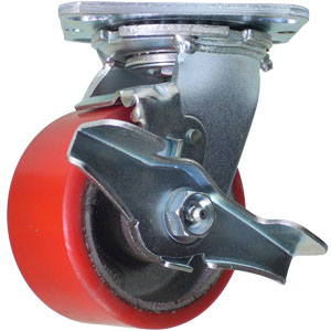 SWL 4'' x 2'' URE/CAST FLAT WHEEL SIDE BRAKE 3/4'' RB  - Red / Silver - CASTERS